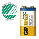 Batteri GP Ultra Plus Alkaline 9V 1604AUP/6LF22 (Miljö)