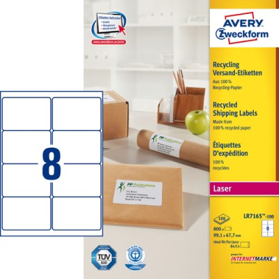 Adressetikett Avery Recycled LR7165 99,1x67,7mm 800st/fpk (Miljö)