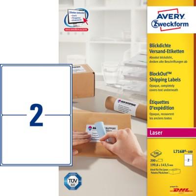 Adressetikett med Blockout Avery L7168 199,6x143,5mm 200st/fpk (Miljö)