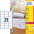 Adressetikett Avery L7160 63,5x38,1mm 2100st/fpk (Miljö)