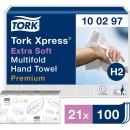 Pappershandduk Tork H2 Xpress Multifold Premium Extra Mjuk 2100ark/kart