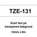 Märkband Brother TZe131 12mm Svart/Transparent