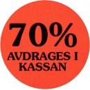 Etikett 70% Avdrages i Kassan 2000st/rulle
