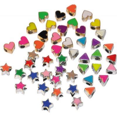 Pärlor Hjärtan/Stjärnor/Trianglar 50st/fpk